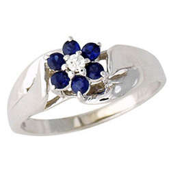 Sapphire and Diamond Flower Petal Ring 14K White Gold