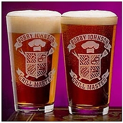 Personalized Grill Master Two Pint Glass Set