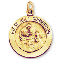 14k Yellow Gold Carved Small First Holy Communion Medal