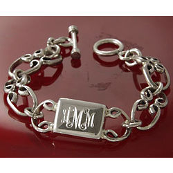 Sterling Silver Personalized Rectangular Link Bracelet