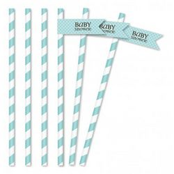 Leopard and Love Blue Baby Straws