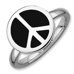 Sterling Silver Stackable Black Enamel Peace Sign Ring