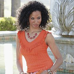Misses Tangerine Ruffle Sweater