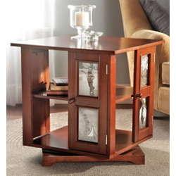 Wood Swivel Photo Side Table
