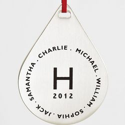 Brushed Silver Family Monogram Ornament
