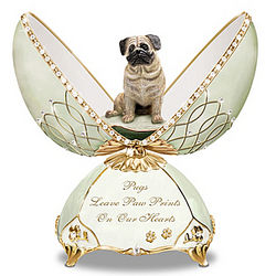 Faithful Friend Pug Porcelain Musical Egg