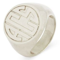 Sterling Silver Block Monogram Signet Ring
