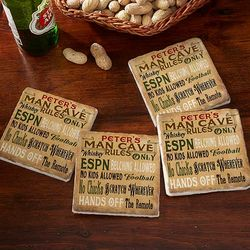 Man Cave Rules Personalized Tumbled Stone Coaster