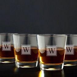 Block Monogram on the Rocks Glasses