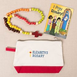Personalized Kiddie Rosary Canvas Mass Bag Gift Set
