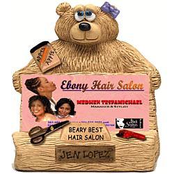 Teddy Bear Hairdresser Business Card Holder