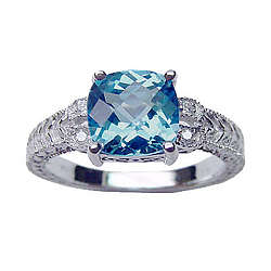 Blue Topaz & Diamond Antique Filigree Ring