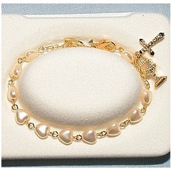 Gold Pearl Heart First Communion Rosary Bracelet