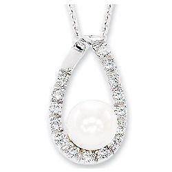 Diamond & Pearl 14k White Gold Pendant