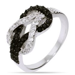 Black and White CZ Sterling Silver Love Knot Ring