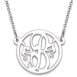 Sterling Silver Single Initial Monogram Circle Necklace