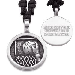 Personalized Pewter Basketball Necklace