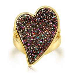 Heart Multi-Color Natural Drusy Quartz Fashion Ring