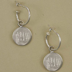 Personalized Sterling Silver Round Hoop Earrings