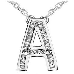 "White Topaz and Sterling Silver Initial ""A"" Pendant"