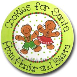 "11"" Gingerbread Cookies for Santa Personalized Plate"