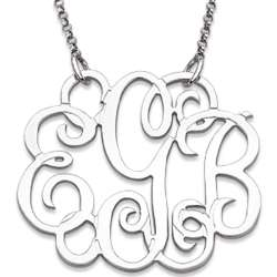 Sterling Silver Fancy Round Monogram Necklace
