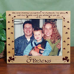 Personalized Shamrock Blessings Wood Picture Frame