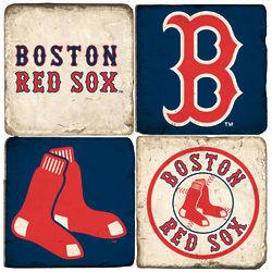 Boston Red Sox Marble Coaster Set