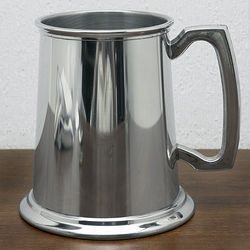 Glass Bottom Refined Pewter Tankard