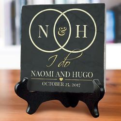 Personalized I Do Tumbled Marble Plaque