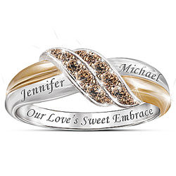 Sweet Embrace Mocha Diamond Ring with 2 Personalized Names