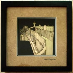 The Hapenny Bridge, Dublin in Black Frame