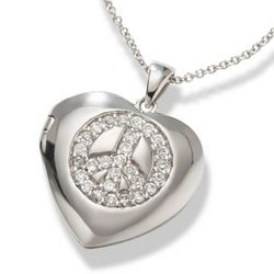 CZ Peace Sign Heart Locket and Necklace in Sterling Silver