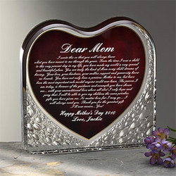 A Letter To Mom Personalized Heart Sculpture