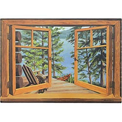 Lake and Cabin Faux Window Scene