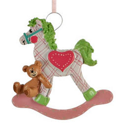 Girl's Plaid Rocking Horse Christmas Ornament