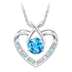 Sterling Silver Heart Pendant with Blue Topaz