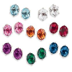 Color Crystal Clip Earring Set