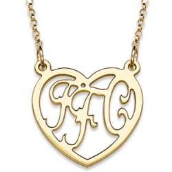 14K Gold Over Sterling 3 Initial Monogram Heart Necklace