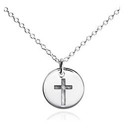 Sterling Silver Mini Cross Round Pendant