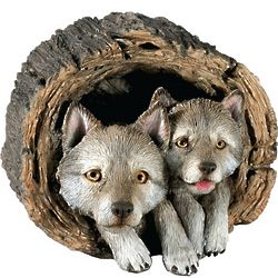 Forever Friends Gray Wolf and Pup Sculpture