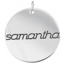 Sterling Silver Engraved Name Disc Charm