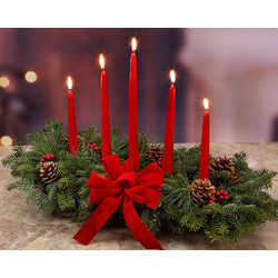 Classic 5 Candle Real Balsam Christmas Centerpiece