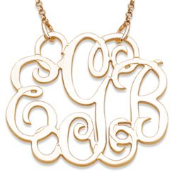 10K Gold Fancy Monogram Necklace