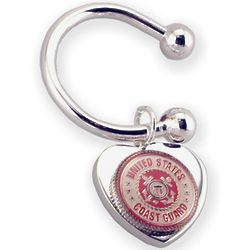 Engravable Coast Guard Heart Key Chain