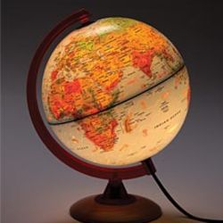 Illuminated Tabletop Globe with Color-Coded Topography