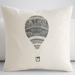 Hot Air Balloon Throw Pillow Cover in Ivory