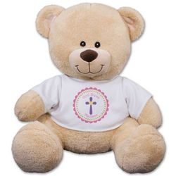 God Bless Pink Cross Teddy Bear