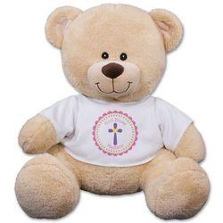 God Bless Pink Cross Teddy Bear