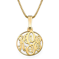 18k Gold Plated Extra Small Circle Monogram Necklace